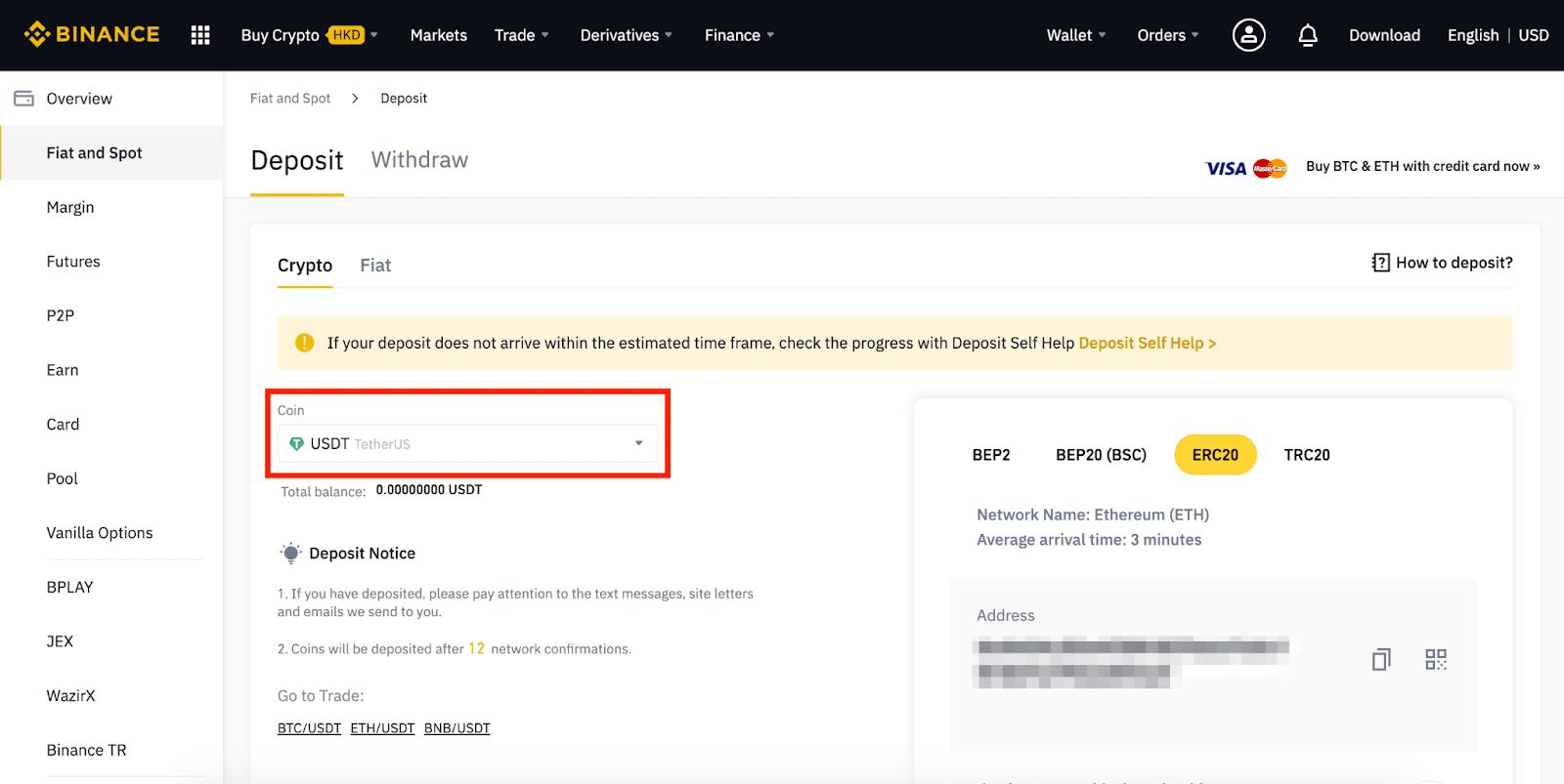 come depositare bitcoin a binance)
