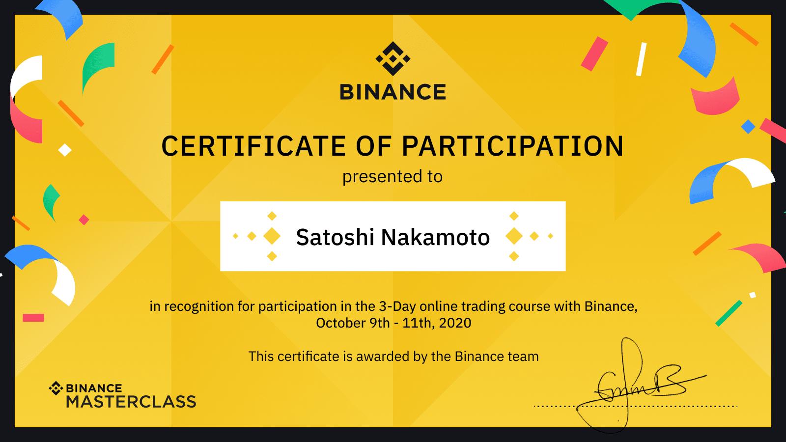 نتيجة بحث الصور عن certificate of participation binance